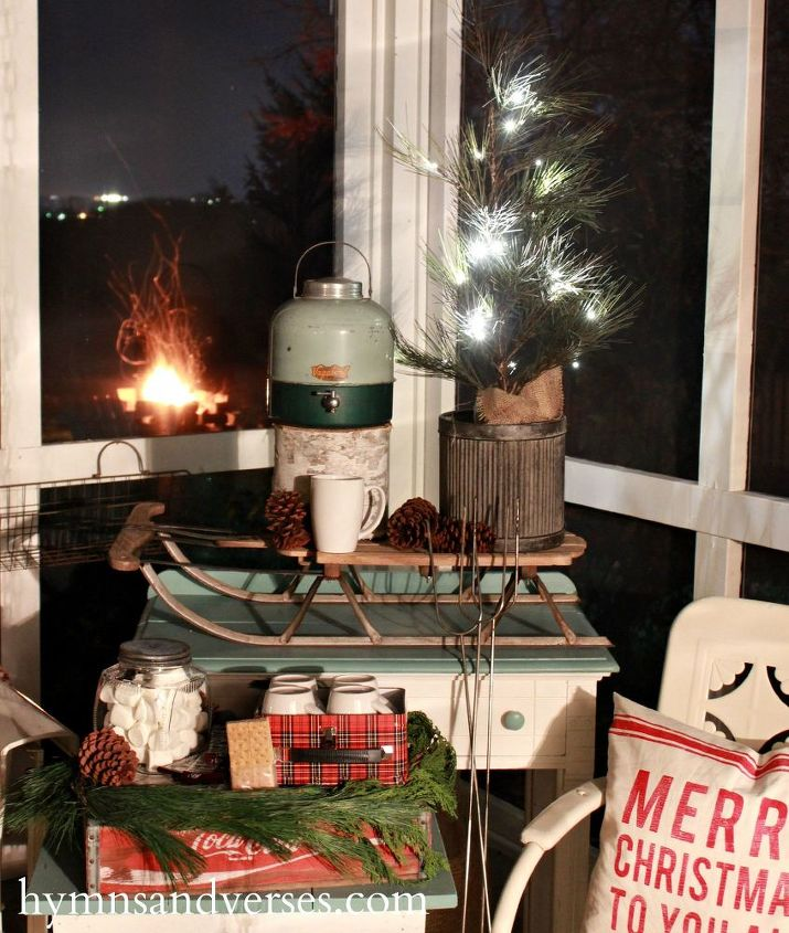 an outdoor s more hot cocoa station inspired by a vintage cooler christmas decorations - Old Time Christmas Decorations Outdoor