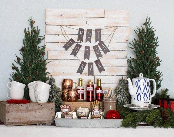 hot cocoa bar, christmas decorations, seasonal holiday decor