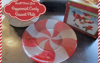 DIY Etched Glass Peppermint Candy Dessert Plates for Christmas