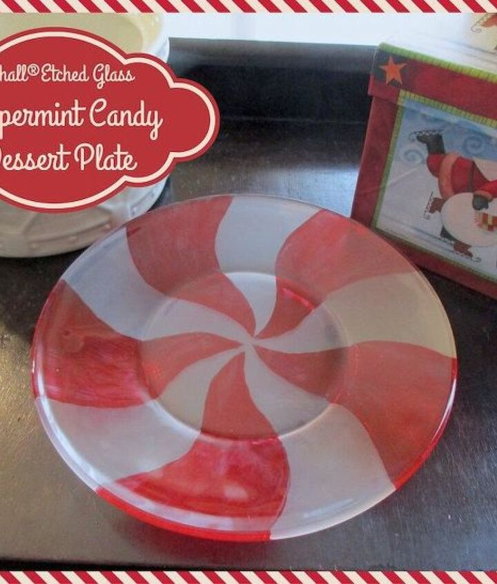 diy etched glass peppermint candy dessert plate, christmas decorations, crafts, how to, seasonal holiday decor