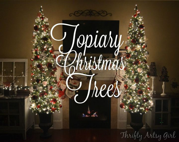 diy potted topiary skinny christmas trees in urns christmas decorations container gardening diy - Skinny Christmas Trees