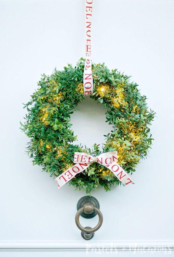 diy faux christmas boxwood wreath that lights up, christmas decorations, crafts, seasonal holiday decor, wreaths