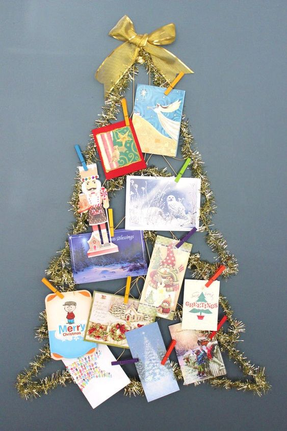 holiday diy wall mounted christmas tree made from wire hangers, christmas decorations, crafts, seasonal holiday decor