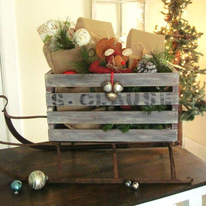 s 9 gorgeous ways to use a plain wooden crate for christmas, christmas decorations, repurposing upcycling, seasonal holiday decor, Turn It into Santa s Sleigh