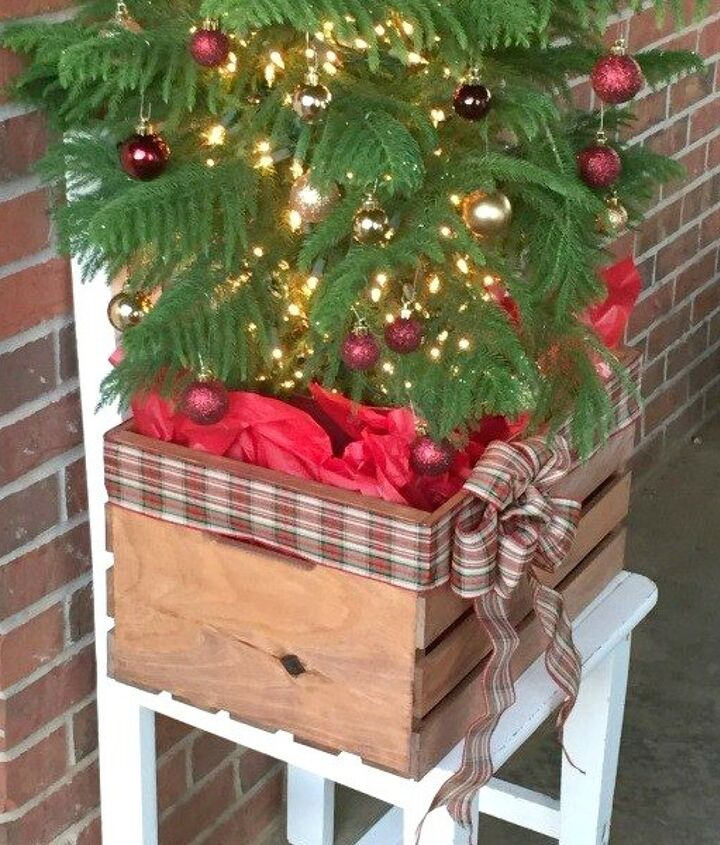 s 9 gorgeous ways to use a plain wooden crate for christmas, christmas decorations, repurposing upcycling, seasonal holiday decor, Make a Mini Tree Planter