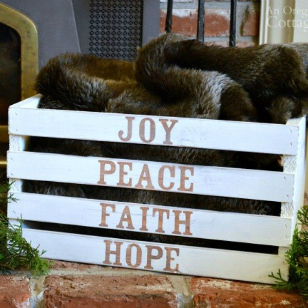 s 9 gorgeous ways to use a plain wooden crate for christmas, christmas decorations, repurposing upcycling, seasonal holiday decor, Create a Heartwarming Hearthside Bin