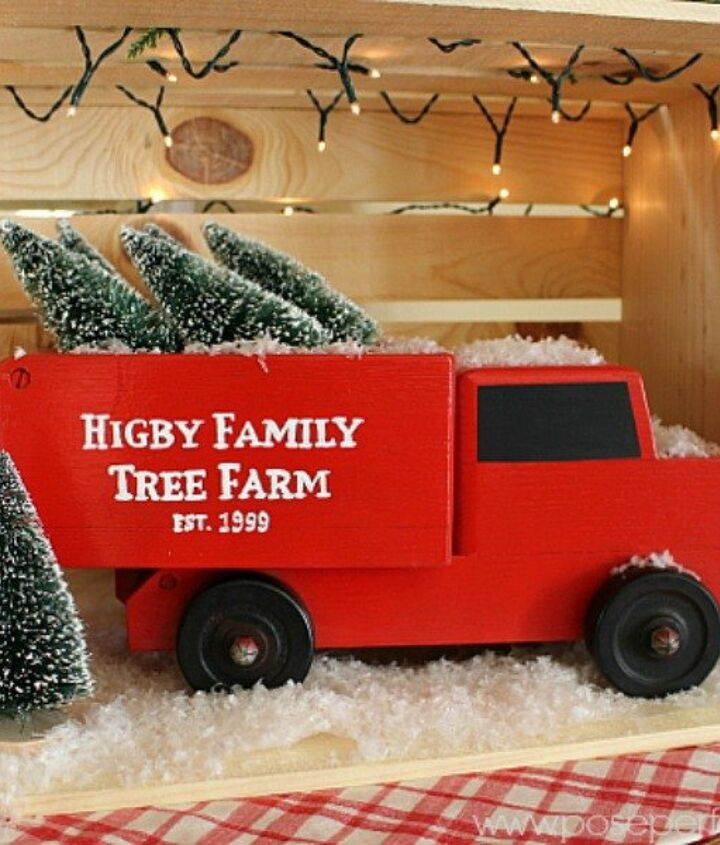 s 9 gorgeous ways to use a plain wooden crate for christmas, christmas decorations, repurposing upcycling, seasonal holiday decor, Decorate a Sweet Tree Truck Display