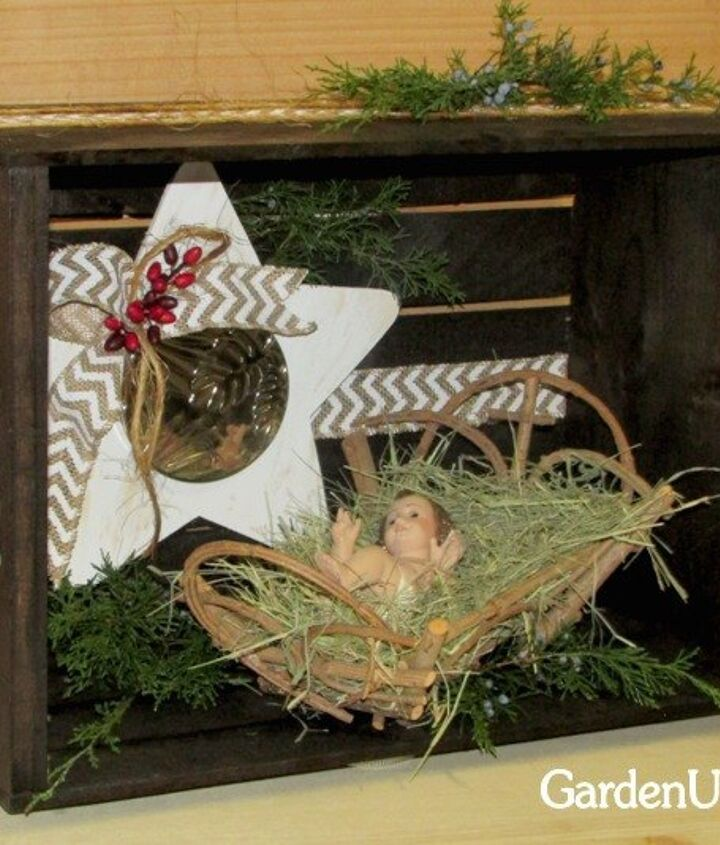 s 9 gorgeous ways to use a plain wooden crate for christmas, christmas decorations, repurposing upcycling, seasonal holiday decor, Set a Small Nativity Scene