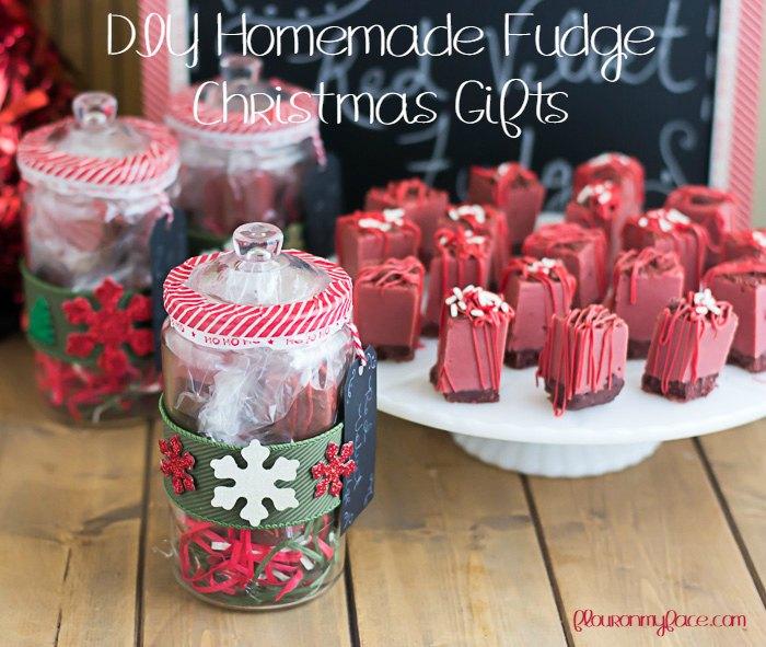 Red Velvet Fudge in DIY Christmas Candy Jars.