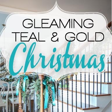 gleaming teal and gold christmas, christmas decorations, home decor, seasonal holiday decor