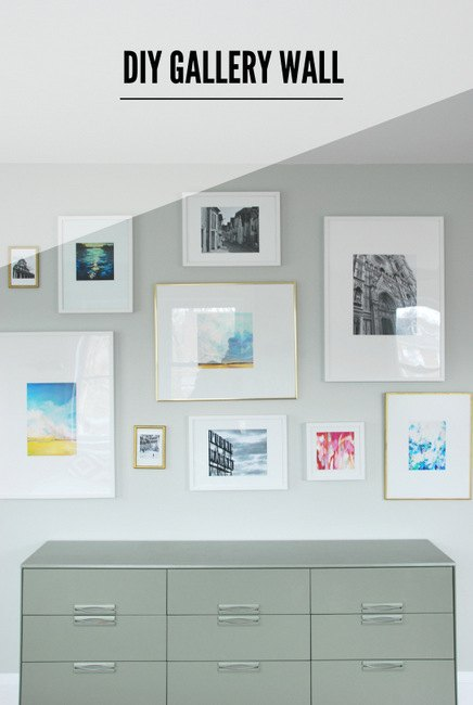 Gallery Wall + DIY Mattes for IKEA Ribba Frames | Hometalk