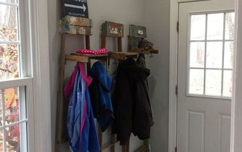 entry transformation with ladders, foyer, home decor, woodworking projects, Finished entry