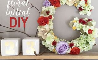 faux floral initial decor, crafts