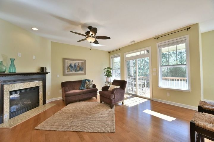 q here are more pics of my house for sale, dining room ideas, home decor, living room ideas, painting, wall decor, Same but with black and gold valances removed to see the back yard and greenery