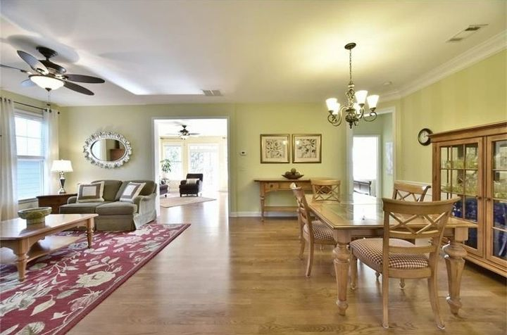 q here are more pics of my house for sale, dining room ideas, home decor, living room ideas, painting, wall decor, Living room and dining room combo removed large red area rug under table
