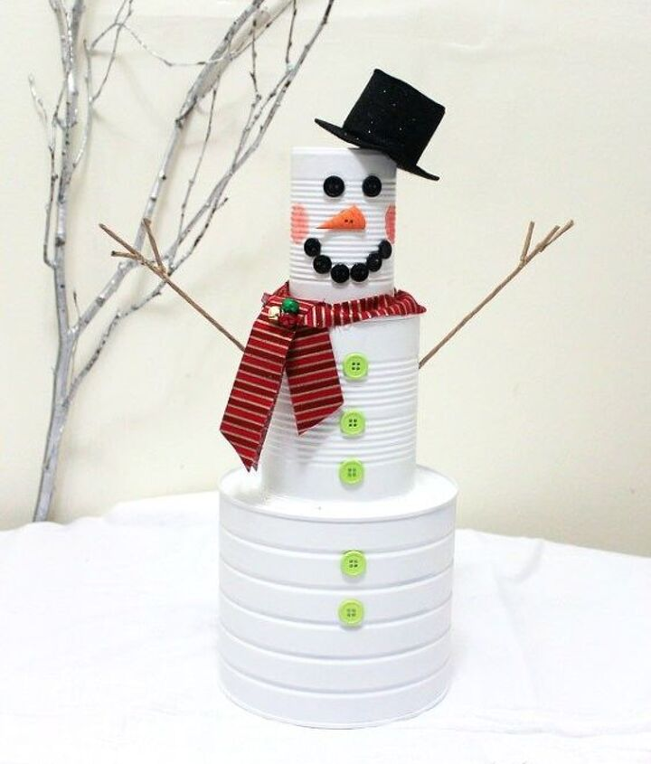 s 15 insanely cute snowmen for every corner of your home, home decor, Upcycled Can Man