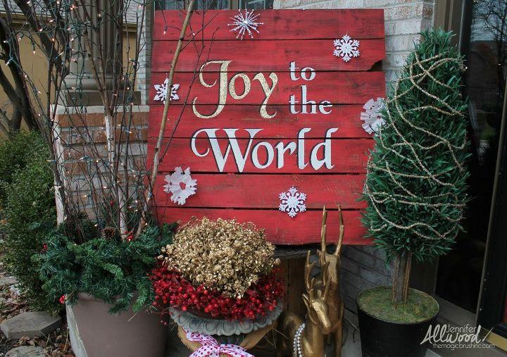 joy to the world christmas pallet, christmas decorations, pallet, seasonal holiday decor