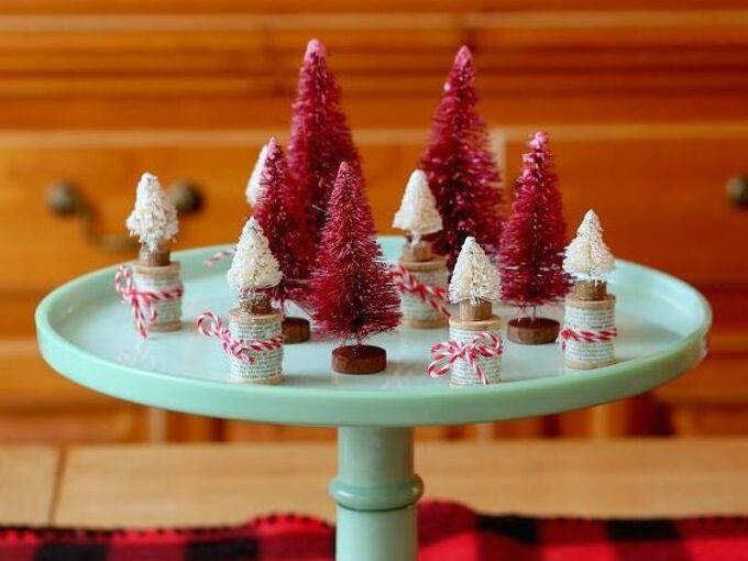 diy dyed bottle brush trees christmas, christmas decorations, crafts, seasonal holiday decor