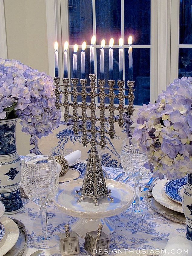 Hanukkah Table: French Blue and White Holiday Table Setting   Hometalk