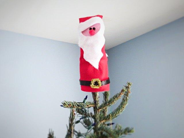 felt santa tree topper, christmas decorations, crafts, seasonal holiday decor