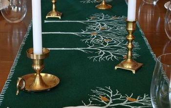 christmas stenciled birch tree runner, christmas decorations, seasonal holiday decor