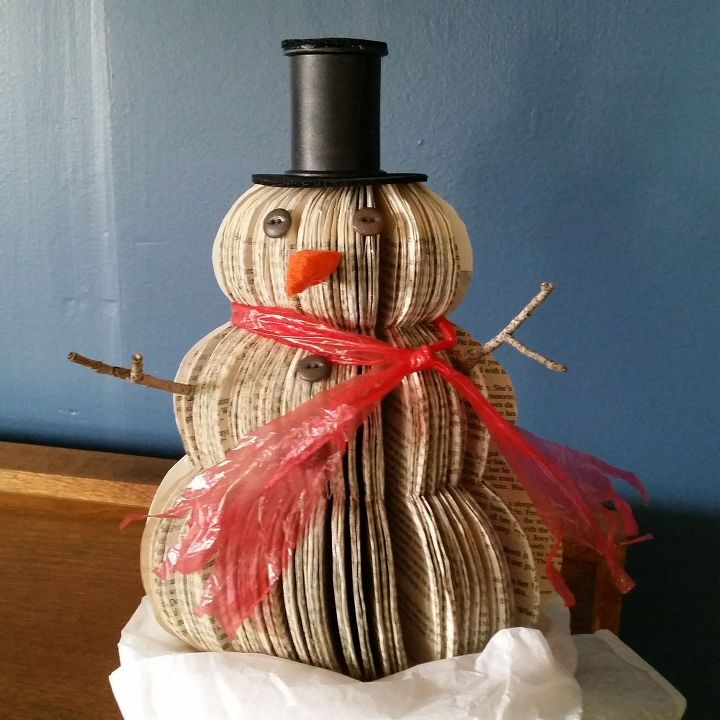 Upcycled Book Snowman Christmas Decoration Hometalk