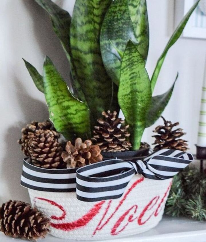 stenciled noel planter basket with free stencil giveaway, christmas decorations, container gardening, crafts, gardening, seasonal holiday decor