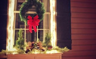 easiest christmas window box idea ever, christmas decorations, crafts, seasonal holiday decor
