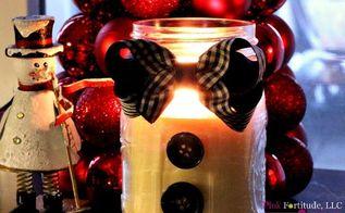 snowman candle diy, christmas decorations, crafts, mason jars, seasonal holiday decor