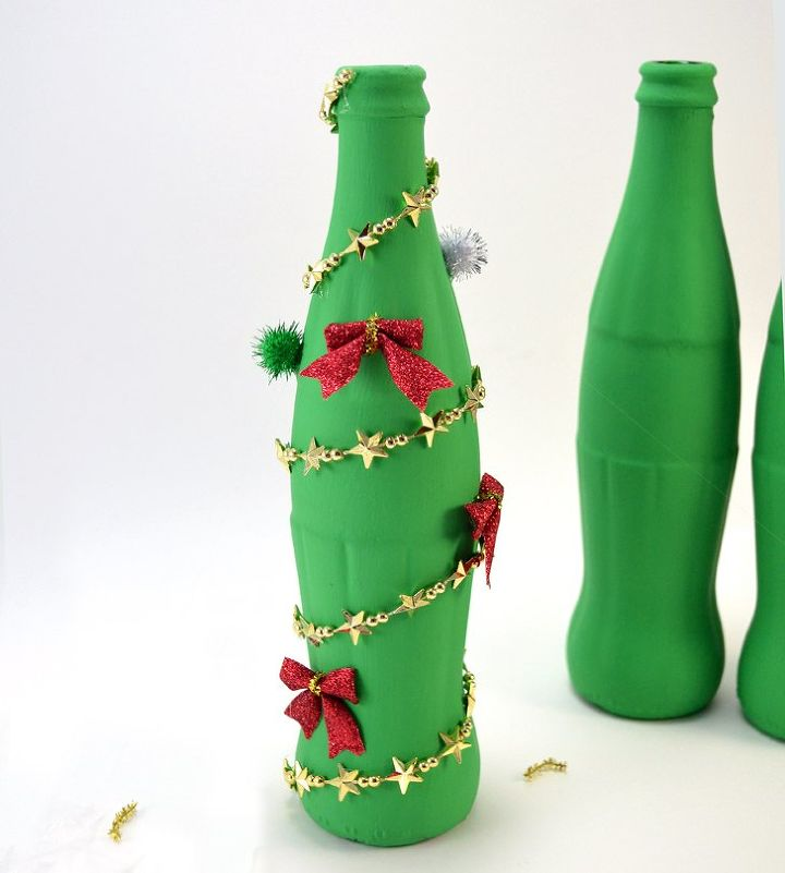 christmas bottle decorations adorable cocacola glass bottle christmas tree craft hometalk decorating design - Christmas Bottle Decorations