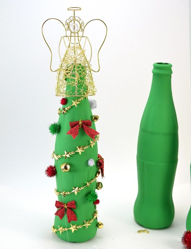 Coca cola glass bottle christmas tree craft hometalk for Christmas bottle decorations