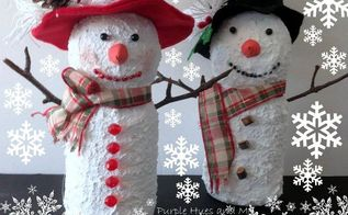 recycled juice bottle snowmen, crafts, how to, repurposing upcycling, seasonal holiday decor