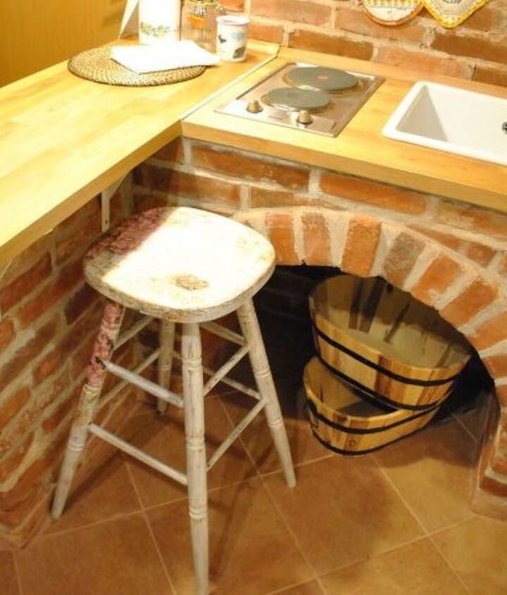 small brick kitchen for traditional croatian house, diy, home improvement, kitchen design