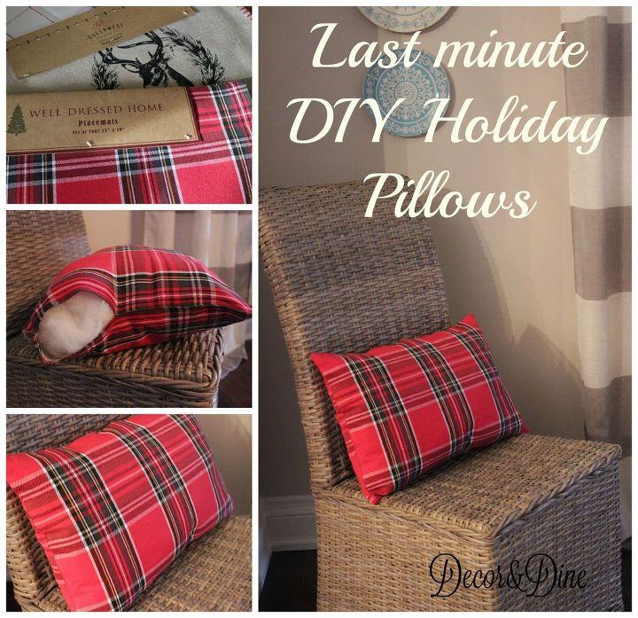 diy placemat holiday pillows minute, christmas decorations, crafts, seasonal holiday decor