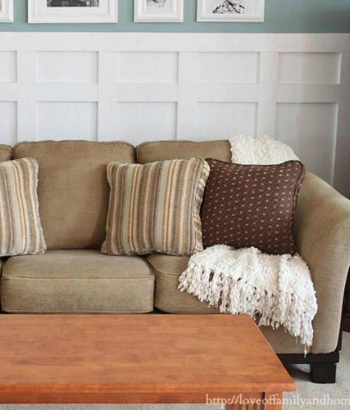 s 18 budget friendly home updates for guests, home decor, seasonal holiday decor, Fluff Up Your Worn Couch Cushions