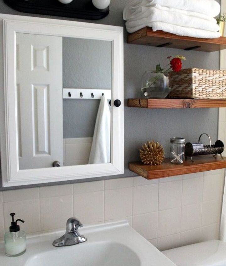 s 18 budget friendly home updates for guests, home decor, seasonal holiday decor, Put Up Floating Shelves