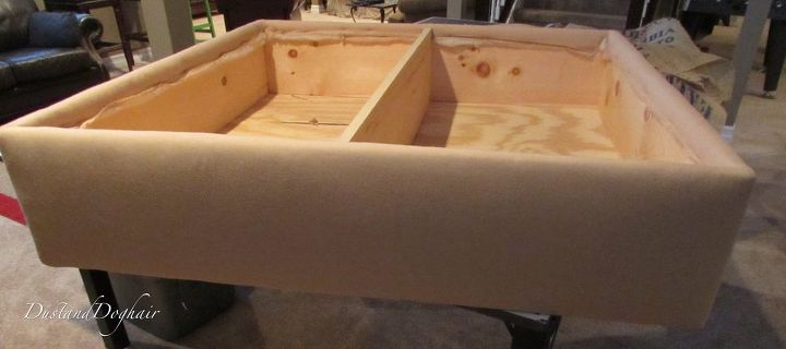 coffee table storage ottoman, diy, repurposing upcycling, storage ideas, reupholster