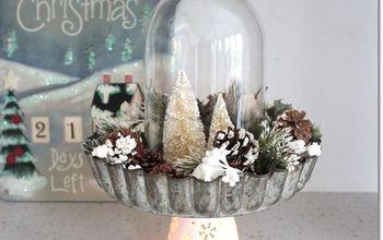 christmas centerpiece diy pie tin and bottle brush tree, christmas decorations, crafts, repurposing upcycling, seasonal holiday decor