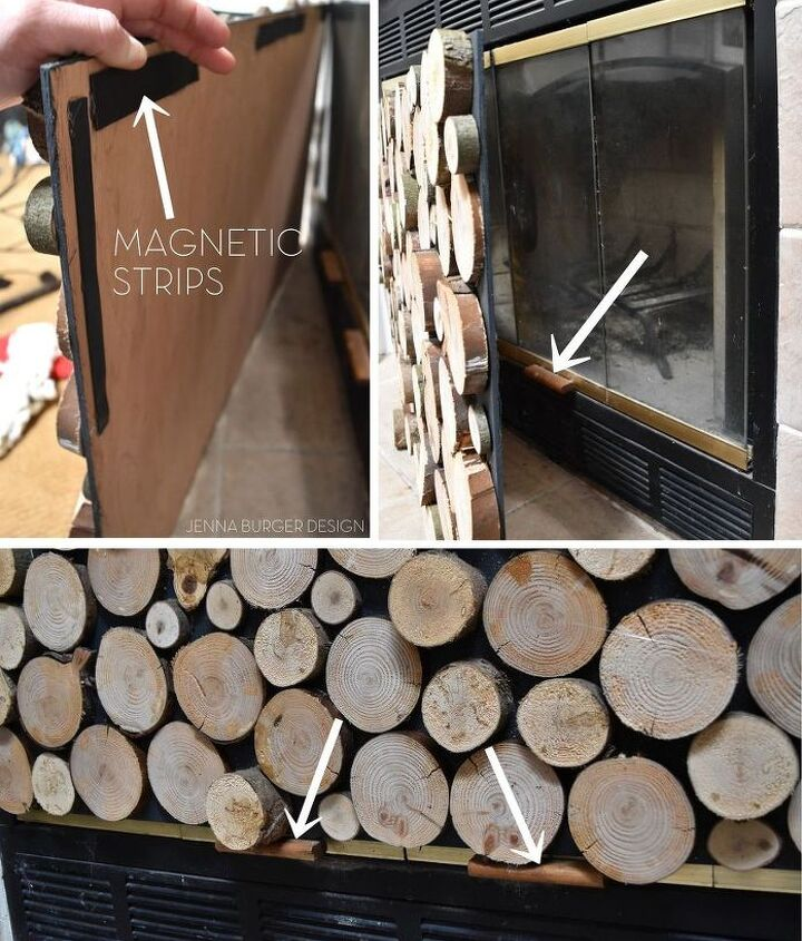 faux stacked log fireplace screen, crafts, fireplaces mantels