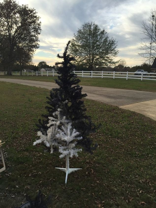 Dingy White Tree Spray Painted Black Christmas Decorations Seasonal Holiday Decor Almost