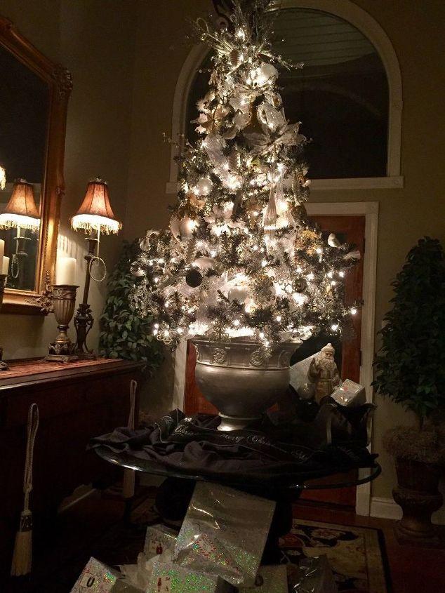 dingy white tree tree spray painted black, christmas decorations, seasonal holiday decor