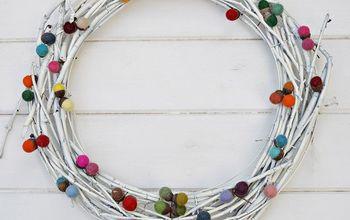 easy diy colourful felted acorn wreath, christmas decorations, crafts, how to, seasonal holiday decor, wreaths