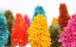 diy mini yarn christmas trees, christmas decorations, crafts, how to, seasonal holiday decor