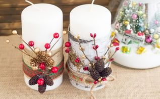 festive christmas candles, christmas decorations, crafts, seasonal holiday decor