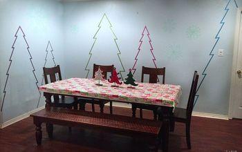 create winter wonderland on walls with washi tape, christmas decorations, seasonal holiday decor, wall decor
