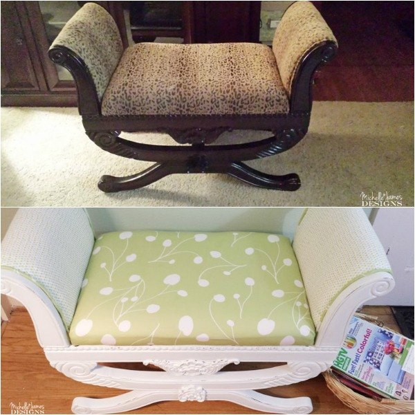 s 14 shocking furniture transformations using fabric, painted furniture, reupholster, Green DIYer Does a Greener Makeover