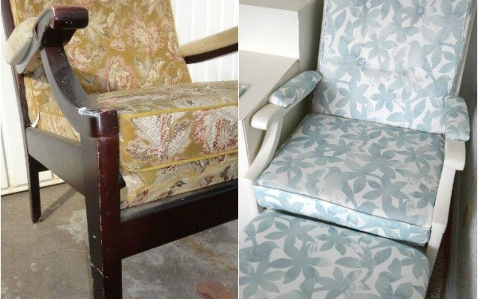 s 14 shocking furniture transformations using fabric, painted furniture, reupholster, Her Soothing Transformation for a Dark Seat