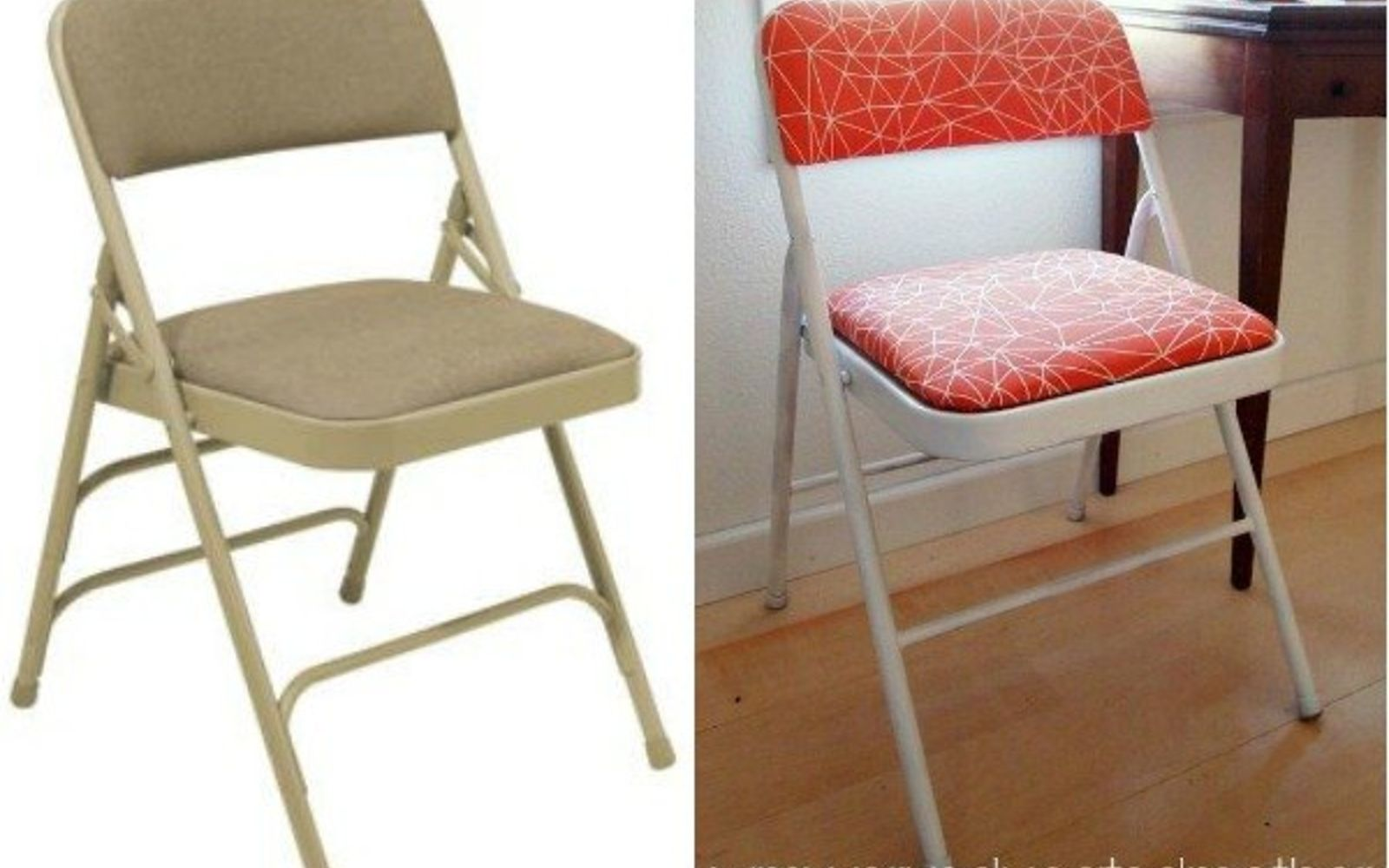 s 14 shocking furniture transformations using fabric, painted furniture, reupholster, Simple and Sunny New Look for a Folding Chair