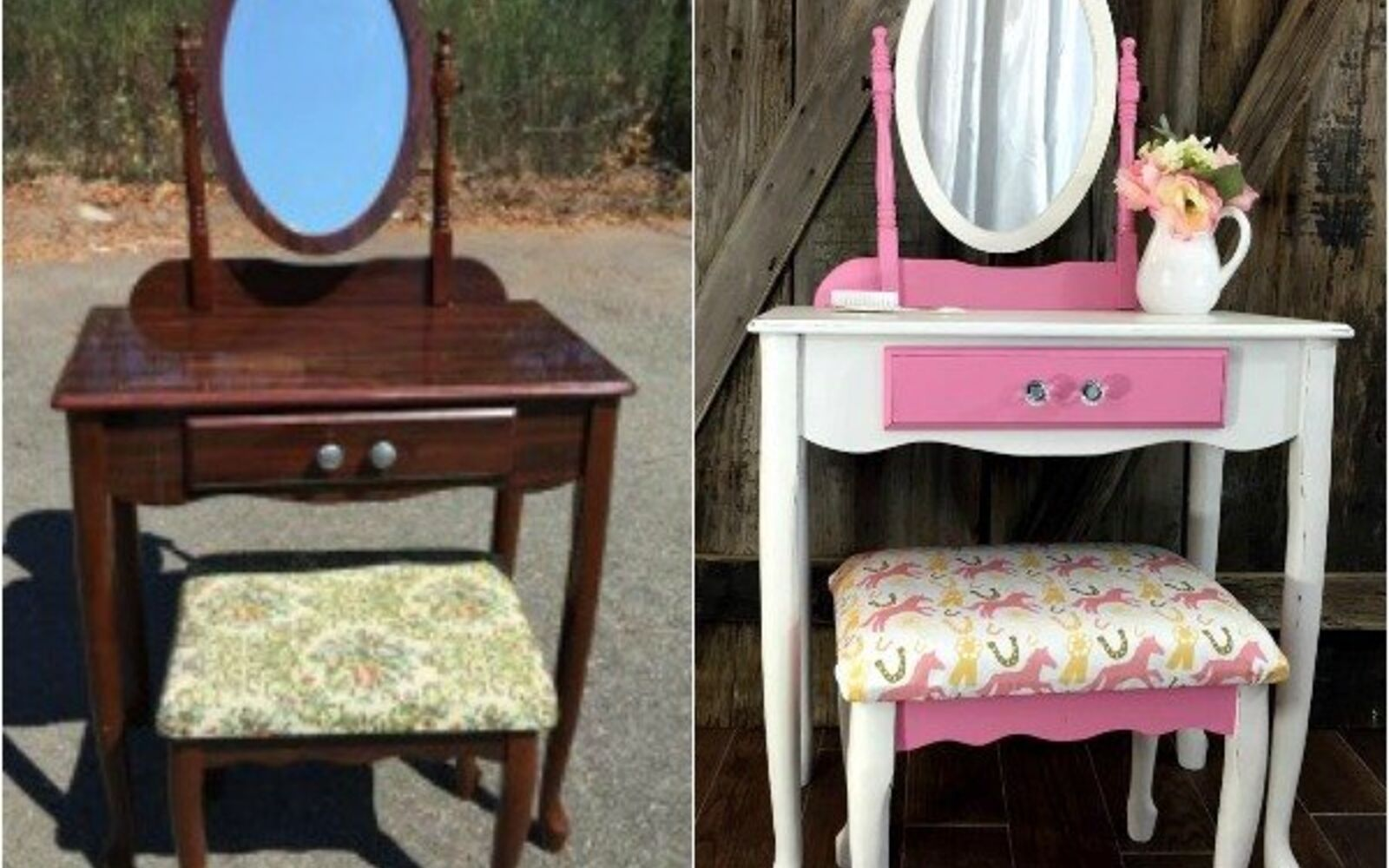 s 14 shocking furniture transformations using fabric, painted furniture, reupholster, An Outdated Vanity With a Fresh New Face