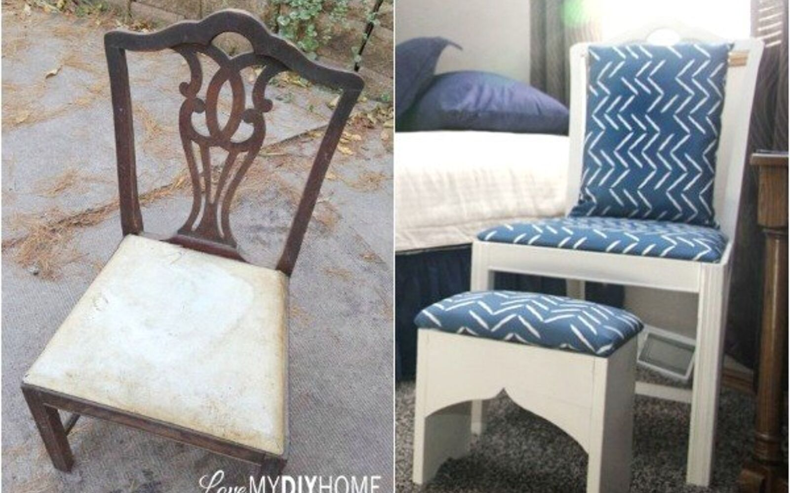 s 14 shocking furniture transformations using fabric, painted furniture, reupholster, An Antique Pair Turn Young Again
